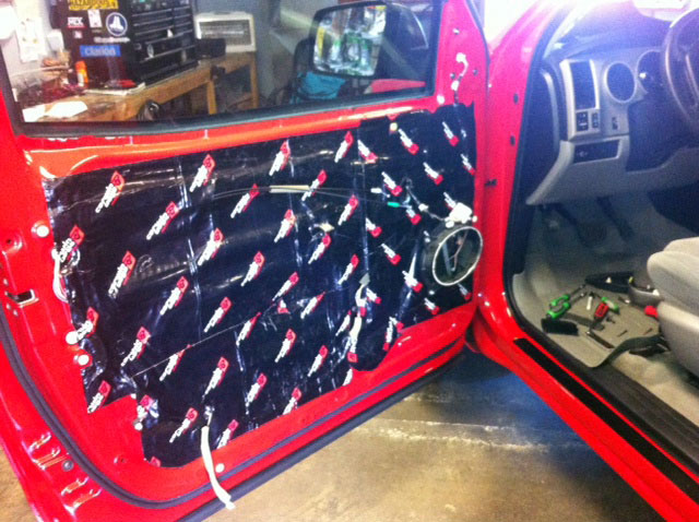 Getting the noise and rattle out a car door, also know as deadening!