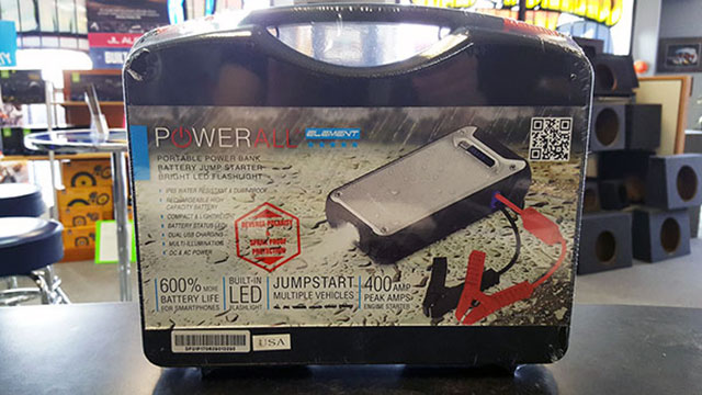 Powerall Element All-in-One Portable Power Bank, Battery Jump Starter, Bright LED Flashlight available at Sounds Good To Me in Tempe, Arizona