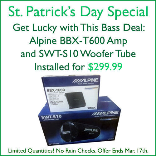 """St. Patrick's Day Special in Tempe, Arizona: Alpine Bass Deal. Get an Alpine BBX-T600 Amplifier, 600 watt 2 channels, and an Alpine SWT-S10 woofer tube, 1200 watt 10"""", installed for $299.99 at Sounds Good To Me"""