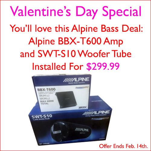 """Alpine Bass Deal. Get an Alpine BBX-T600 Amplifier, 600 watt 2 channels, and an Alpine SWT-S10 woofer tube, 1200 watt 10"""", installed for $299.99 at Sounds Good To Me in Tempe, AZ."""