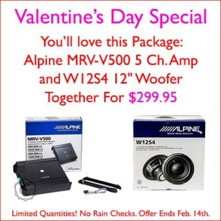 """: Get an Alpine V-Power MRV-V500 5 Channel Amp AND an Alpine W12S4 12"""" Woofer together for $299.95 at Sounds Good To Me in Tempe, AZ. Limited quantities, and no rain checks. Offer expires Feb 14th, 2019"""