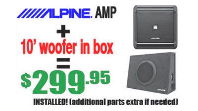 "Sound Special: Get an Alpine AMP + 10"" Woofer in box for $299.95 Installed at Sounds Good To Me in Tempe, AZ near ASU."