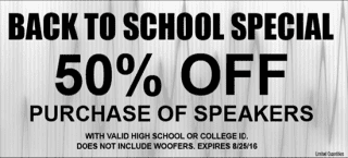 Back to School Special at Sounds Good To Me in Tempe AZ: Save 50% off the Purchase of Speakers