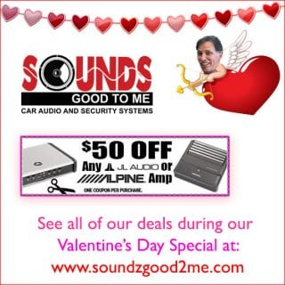 Sound Specials: Get $50 off any JL audio or Alpine amp, now through Feb 14th only at Sounds Good To Me in Tempe, AZ: