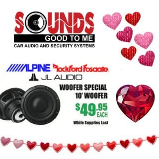 "Feel the boom of two hearts beating as one with this Woofers special. ALPINE JL AUDIO & ROCKFORD FOSGATE 10"" woofers are available now – Feb 14th starting at $49.95. See all our specials during our Valentine's Day sale at Sounds Good To Me in Tempe, AZ: https://www.soundzgood2me.com/valentines-day-sale/"