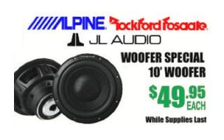 score 10' woofers by Alpine, Roxford Fosgate and JL Audio for $49.95 each while supplies last at Sounds Good To Me in Tempe AZ near Phoenix: